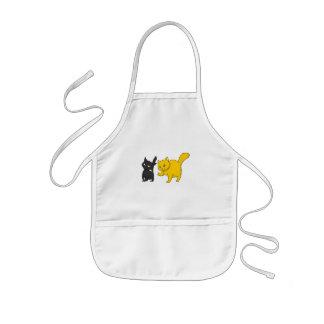 黒く及び黄色猫 子供用エプロン