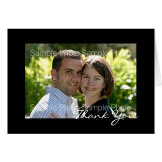 黒く名前入りな写真の結婚式のサンキューカード カード