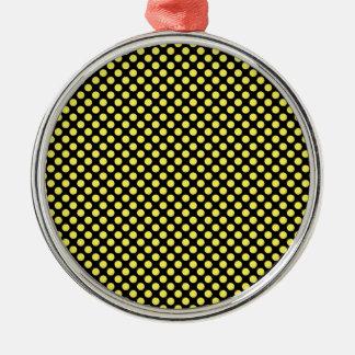 黒く小さい水玉模様の《昆虫》マルハナバチの黄色 シルバーカラー丸型オーナメント