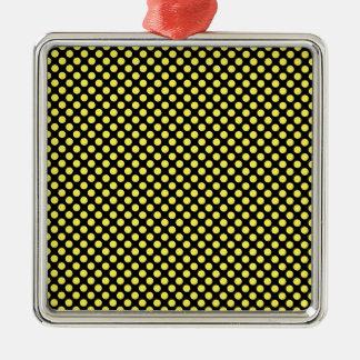 黒く小さい水玉模様の《昆虫》マルハナバチの黄色 シルバーカラー正方形オーナメント