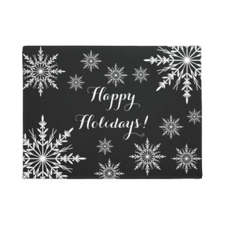 黒く幸せな休日の白い冬の雪片 ドアマット