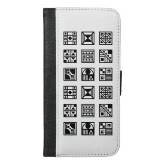 黒く幾何学的な種族パターンiphoneの箱 iPhone 6/6s plus ウォレットケース
