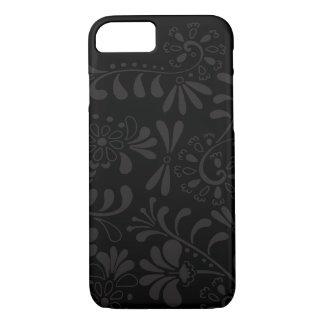 黒く抽象的な花 iPhone 7ケース