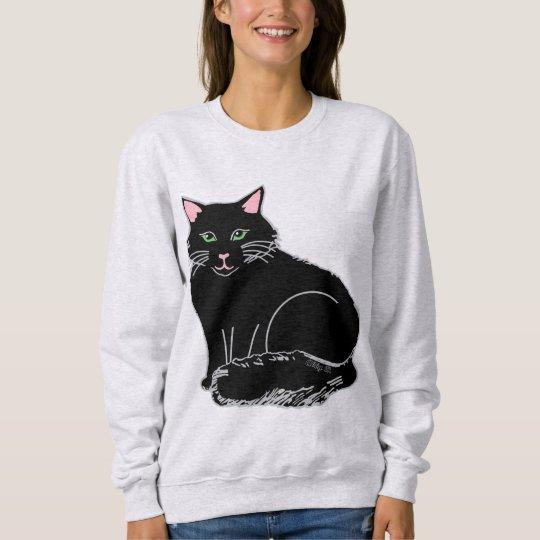 黒く柔らかい猫の女性のスエットシャツ スウェットシャツ