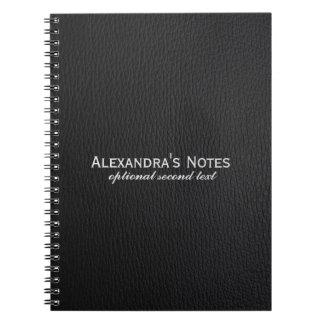 黒く模造のなレザールックのテンプレート ノートブック
