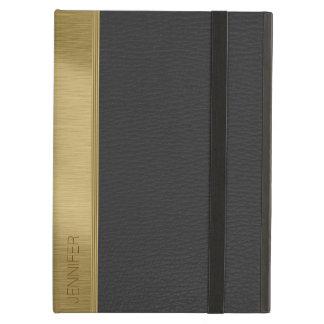 黒く模造のなレザールックの金ゴールドのアクセント iPad AIRケース