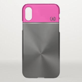黒く模造のな鋼鉄マゼンタのアクセント及びモノグラム iPhone X ケース