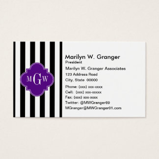 黒く白くストライプな紫色のクローバー3のモノグラム 名刺