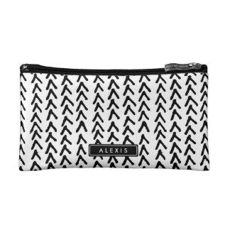 黒く素朴な種族パターン名前入りな化粧品 コスメティックバッグ