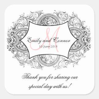 黒く華美なフレームのピンクのモノグラムの結婚式は感謝していしています スクエアシール