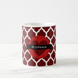 黒く赤いモロッコの格子パターン コーヒーマグカップ