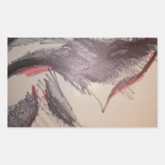 黒く赤い感じ 長方形シール