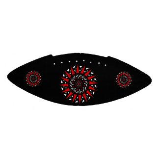 黒く赤い螺線形によって打ちつけられるデザインの小型フットボール アメリカンフットボール