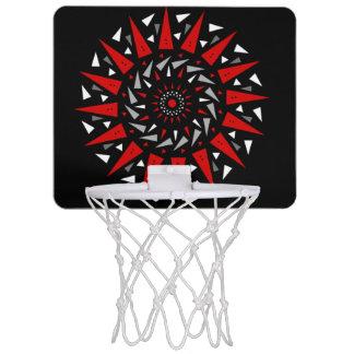 黒く赤い螺線形の入った円形のバスケットボールたが ミニバスケットボールゴール