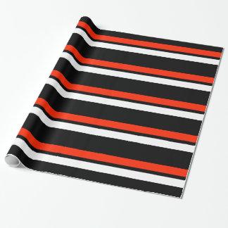 黒く赤く及び白い横のストライプなGiftwrap ラッピングペーパー