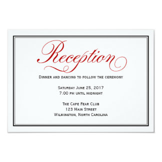 黒く赤く白い書道の結婚披露宴カード 8.9 X 12.7 インビテーションカード