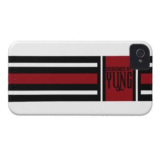 黒く赤く白くエレガントなストライプ Case-Mate iPhone 4 ケース