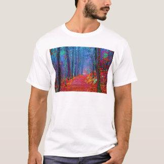 黒く軽い森林油絵 Tシャツ