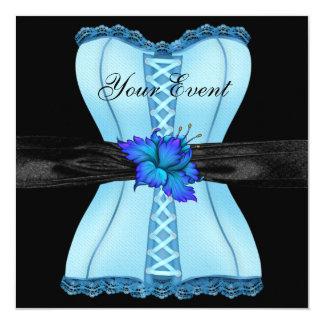 黒く青いコルセットの花の弓 カード