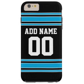 黒く青いフットボールのジャージーの名前をカスタムする数 TOUGH iPhone 6 PLUS ケース