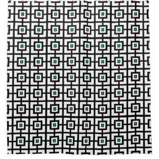黒く青および白い四角はシャワー・カーテンをタイルを張りました シャワーカーテン