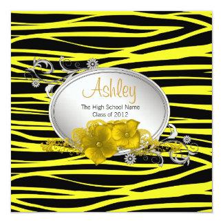 黒く黄色いシマウマの卒業の発表 13.3 スクエアインビテーションカード