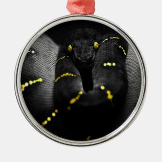 黒く黄色いヘビ メタルオーナメント