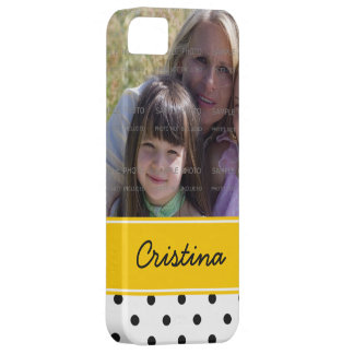 黒く黄色い水玉模様の写真テンプレートの名前をカスタムする iPhone SE/5/5s ケース