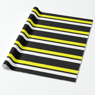 黒く黄色及び白い横のストライプなGiftwrap ラッピングペーパー