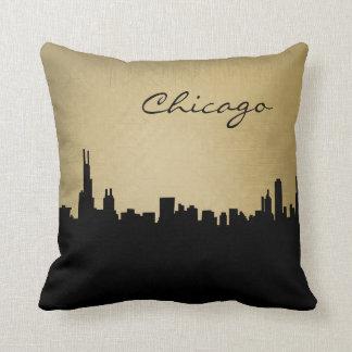 黒く、グランジなシカゴの陸標の枕 クッション