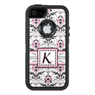 黒く、ピンクのダマスク織のモノグラム オッターボックスディフェンダーiPhoneケース