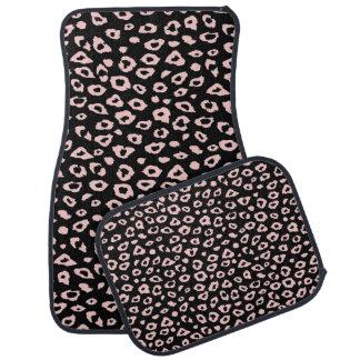 黒く、ピンクのヒョウのプリント カーマット