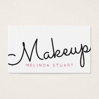 黒く、ピンクのモダンなタイポグラフィのメーキャップアーティスト 名刺