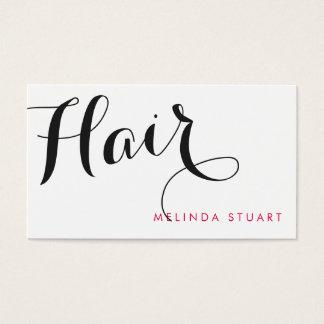 黒く、ピンクのモダンなタイポグラフィの美容師 名刺