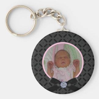 黒く、ピンクの写真Keychain キーホルダー