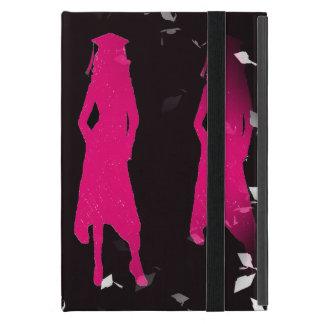 黒く、ピンクの卒業生の女の子はIIのシルエットを描きます iPad MINI ケース