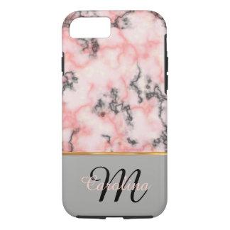黒く、ピンクの大理石、名前およびモノグラム iPhone 7ケース