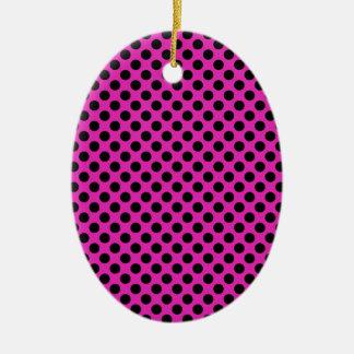 黒く、ピンクの水玉模様 セラミックオーナメント