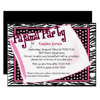 黒く、ピンクの点のパジャマ・パーティー カード