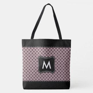 黒く、ピンクパターンカスタムでモノグラムのなイニシャル トートバッグ