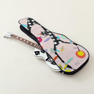 黒く、ピンク猫はあなたのイニシャルを今加えます ギターケース
