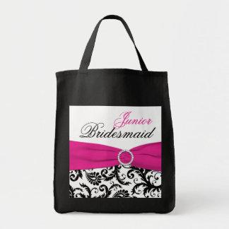 黒く、ピンク、白い後輩の新婦付添人のトートバック トートバッグ