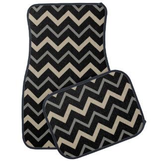 黒く、ベージュおよび灰色のジグザグパターン カーマット