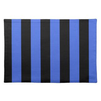-黒く、ロイヤルブルーを縞で飾ります ランチョンマット