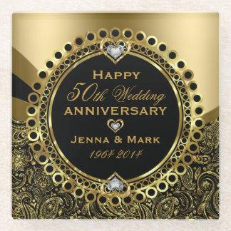 黒く、光沢がある金ゴールド第50の結婚記念日 ガラスコースター