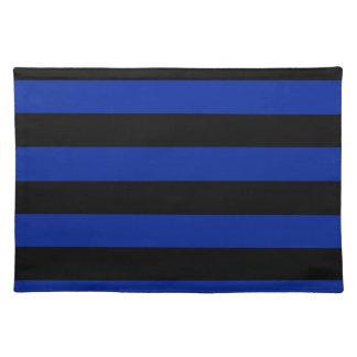 -黒く、帝国青を縞で飾ります ランチョンマット