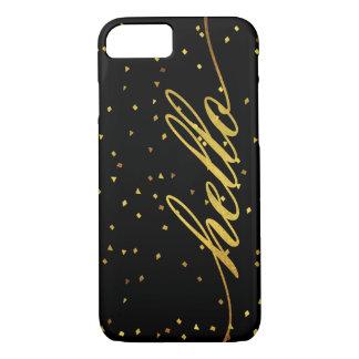 黒く、模造のな金ゴールドのこんにちはグリッター iPhone 8/7ケース