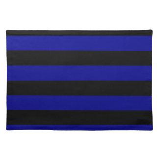 -黒く、濃紺縞で飾ります ランチョンマット