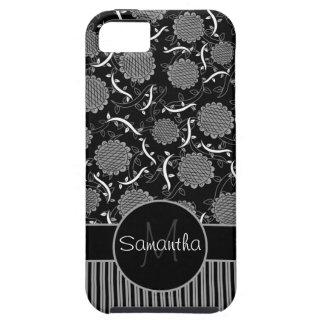 黒く、灰色および白い花及びつる植物はとの縞で飾ります iPhone SE/5/5s ケース