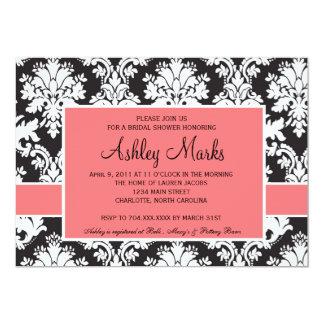 黒く、珊瑚のダマスク織の招待状 カード